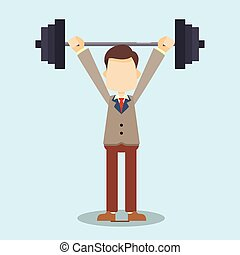 business man lifting dumbbell