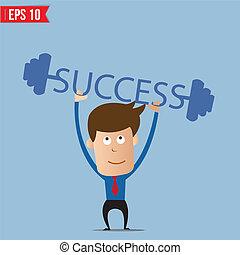 Business man lifting success barbell - Vector illustration - EPS10