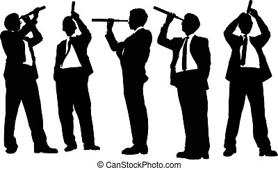 business man look telescope - Silhouettes of successful...