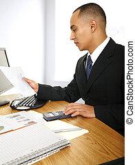 Business Man Looking At Chart