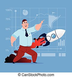 Business Man Looking At Flying Rocket New Startup Strategy Concept