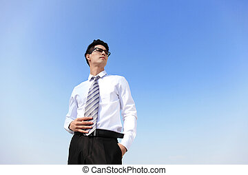 business man looking away to copy space