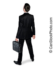 Business man looking back - Isolated business man looking...