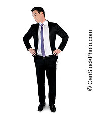Business man looking down - Isolated business man looking...