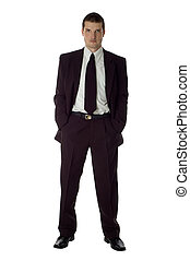 business man looking serious standing on white