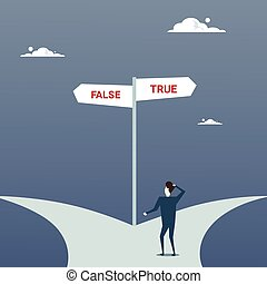 Business Man Lost Standing On Road Choose Direction Between False And True Way Arrow