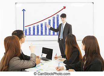 business man making a presentation on whiteboard