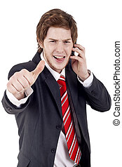 Business man making thumbs up gesture