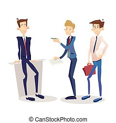 Business Man Manager Set, Businessman Full Length Cartoon Character