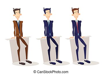 Business Man Manager Set, Businessman Full Length Cartoon...
