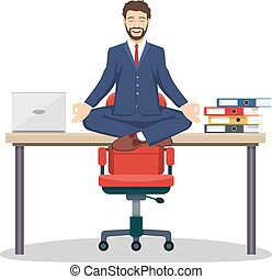 Business man, manager sitting on office desk - Business man...