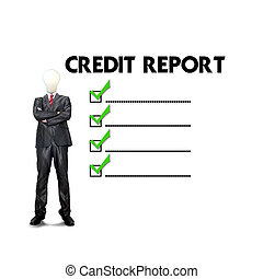 Business man mark on the check boxes credit score