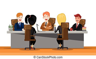 Business man meeting at a big conference desk. Startup company. People working together. Modern colorful flat style vector illustration isolated on white background