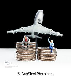 business man miniature figure concept idea to success transporta