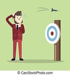 Business man missed target shoot