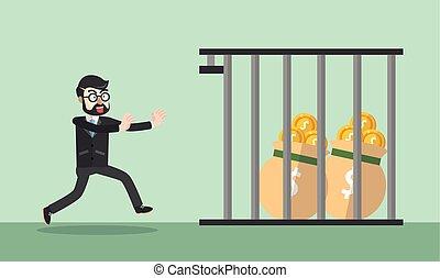 Business man money jail