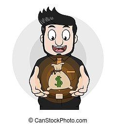 Business man money sacks