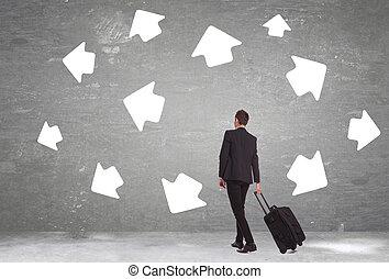 business man must choose a destination - business man must...