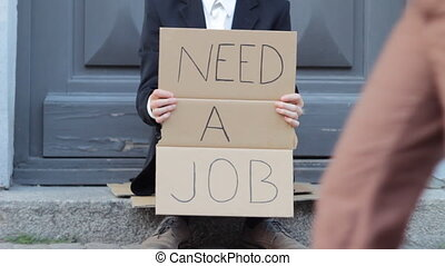 Business Man Needs Job Outdoors - Young Businessman with...