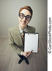 Business man nerd holds a blank sign