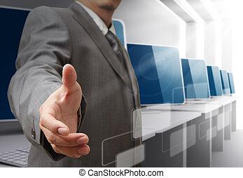 business man offers handshake