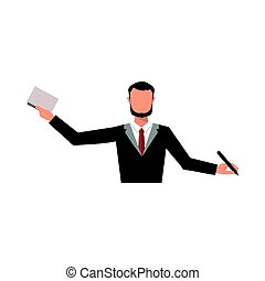 Business man office job stress work vector illustration flat style person manager character