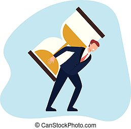 Business man office worker character care hard hourglass. Timeline management concept. Vector flat cartoon graphic design illustration