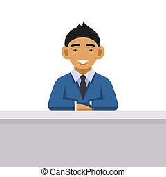 Business Man on a Desk at the Office. Vector