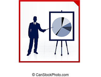 Business man on background with financial pie chart