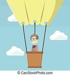 business man on hot air balloon