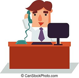 Business Man on Phone Cartoon Character Vector Illustration
