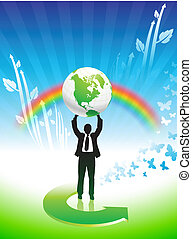 Business man on Rainbow Environmental Conservation Background