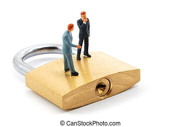 business man on security padlock - business man on secure ...