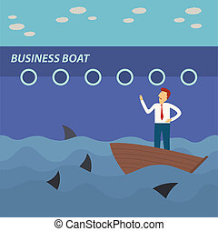 business man on small boat looking big business boat with...