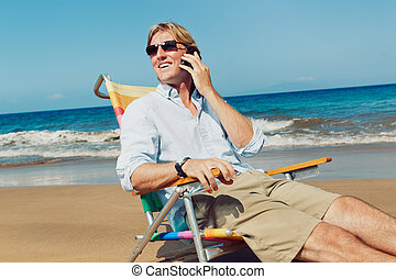 Business Man on the Beach in Hawaii