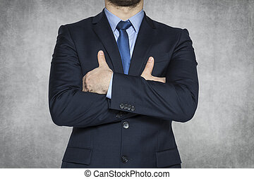 Business man on the grey background