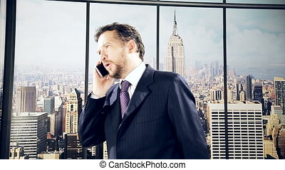 Business man on the phone - Serious business man on the...