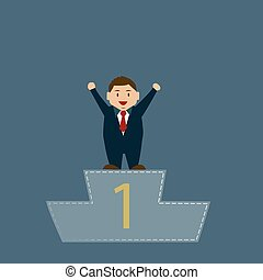 Business man on top of podium
