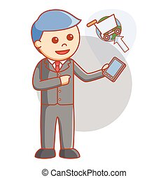Business man online booking