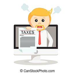 Business man online taxes