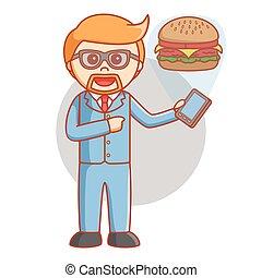 Business man order burger
