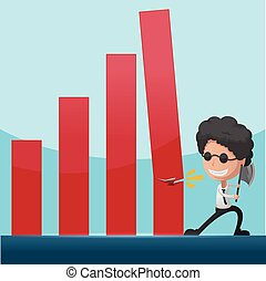 Business Man Overthrow Red Graph Vector