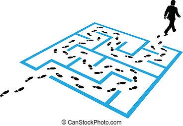 Business man path footprints solution puzzle