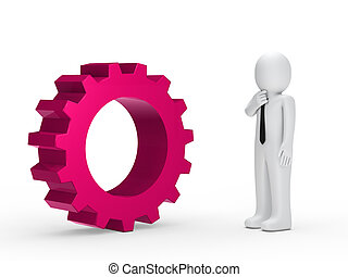Business man pink mechanical gear - Business man with tie...