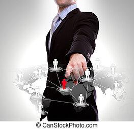 Business man point to social network