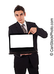 Business man pointing at a laptop