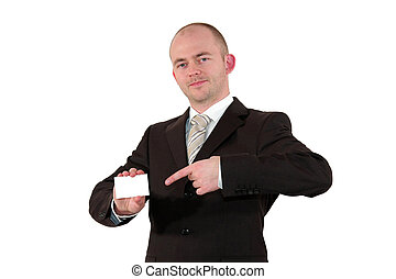 business man pointing at business card