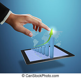business man pointing at growth graph and business concept
