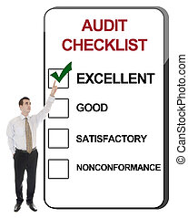 Business man pointing Audit Checklist
