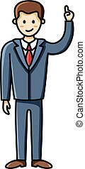 Business man pointing finger up pose. Infographic element. Vector character